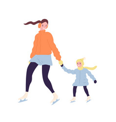Happy cute mom and daughter on ice skates smiling vector