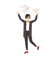 happy funny woman manager or clerk throwing paper vector image