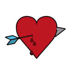 Heart cartoon and arrow fall in love icon image vector