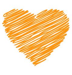 heart orange hand drawn sketch vector image