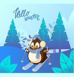 Hello winter penguin wearing scarf skiing vector