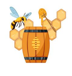 honey beekeeping poster honeycomb wooden vector image