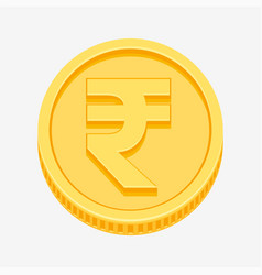 Indian rupees symbol on gold coin vector