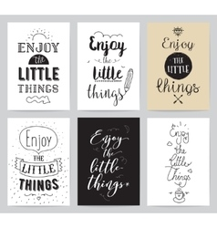 Inspirational cards 6 set Typographical design vector image