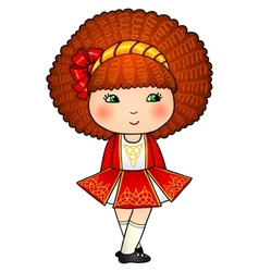 Irish dancing girl in red traditional dress vector image