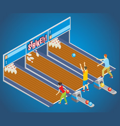 isometric bowling game concept vector image