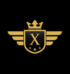letter x shield wing vector image