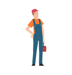 Male electrician engineer with toolbox vector