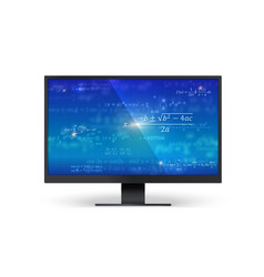 mathematical formulas on blue screen monitor vector image
