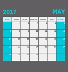 May 2017 calendar week starts on Sunday vector image vector image