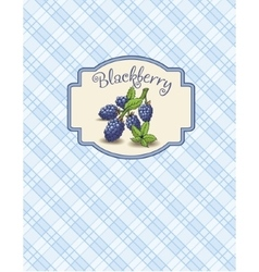 Menu of blackberry sticker with branch and leaves vector