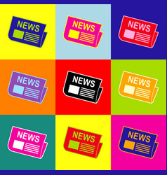 newspaper sign pop-art style colorful vector image