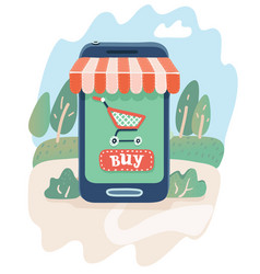 online shopping smartphone and screen buy vector image