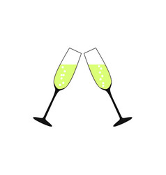pair of champagne glasses set of sketch style vector image