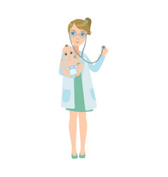 Pediatrician checking with stethoscope lungs vector