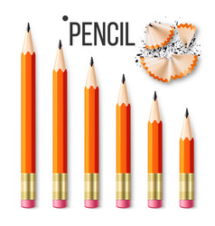 pencil stationery set yellow classic vector image