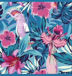 Pink parrot flowers and plants blue background vector