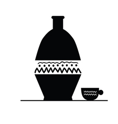 Pitcher and cup black silhouette vector