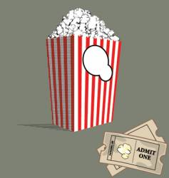 popcorn and tickets vector image
