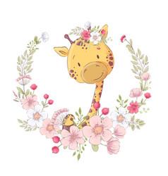 Postcard poster cute little giraffe in a wreath vector