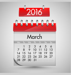 realistic calendar with red hard cover vector image