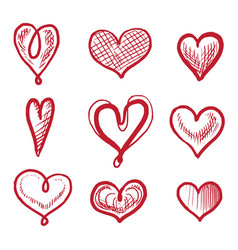 red art heart shape hand drawn icon isolated set vector image