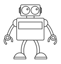 retro robot icon outline style vector image