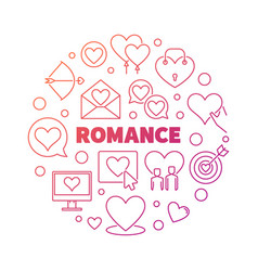 Romance concept colorful round outline vector
