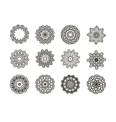 Round ornament pattern set vector image