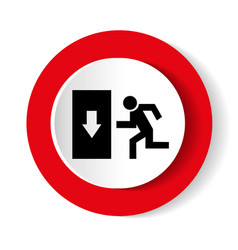 Safe condition sign emergency exit black icon on vector