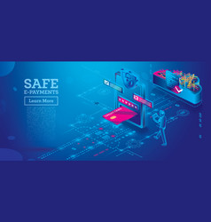 safe e-payments on smartphone or tablet computer vector image