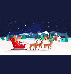 Santa riding in sledge with reindeers happy new vector