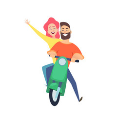 scooter ride happy woman man riders cute cartoon vector image