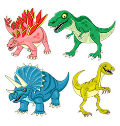 set funny dinosaurs vector image