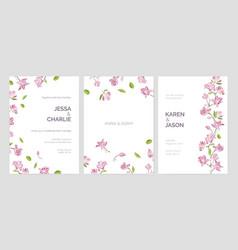 Set of beautiful wedding party invitation vector