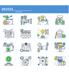 Set of computer hardware devces and movie vector