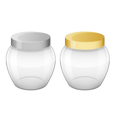 Set of empty glass jars with lid for home made and vector