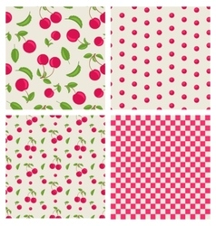Set seamless cherry pattern vector