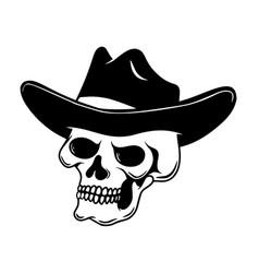 skull in cowboy hat design element for logo vector image
