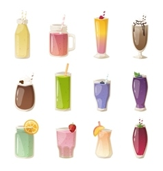 Smoothies drinks glasses set vector