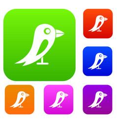 social network bird set collection vector image