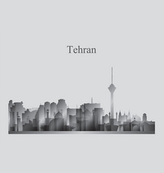 Tehran city skyline silhouette in grayscale vector