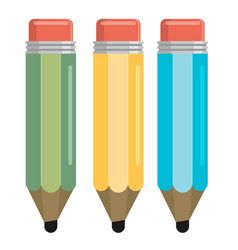 three color pencil in a flat style vector image