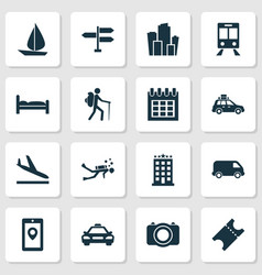 Traveling icons set with signpost bed suv and vector