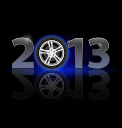 Twenty thirteen year car wheel on black vector