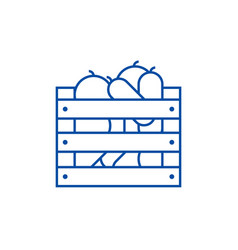vegetables in harvest box line icon concept vector image