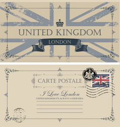 Vintage postcard with flag of great britain vector