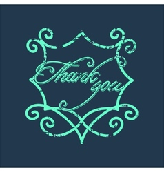 Vintage Thank You and graceful floral monogram vector