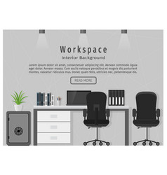 Web banner of modern office workplace workspace vector
