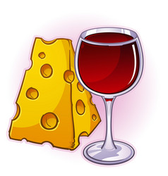 Wine and cheese cartoon vector
